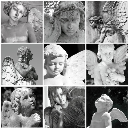 wistfulness: collage with antique  cemetery angels