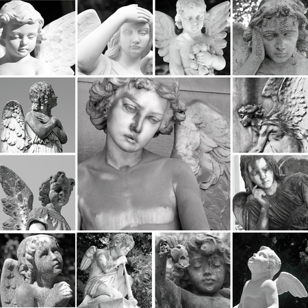 collage with antique  cemetery angels photo