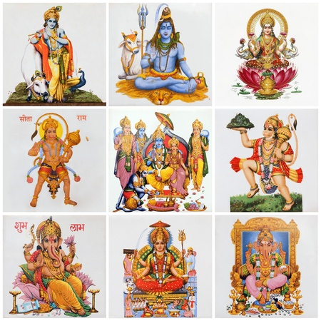 deities: collage with hindu deities as: Lakshmi,  Shiva, Krishna, Hanuman, Ganesha, Rama, Parvati  on antique ceramic tiles Stock Photo