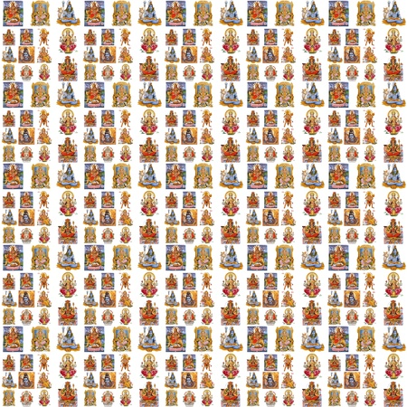 collage with hindu symbols : Lakshmi, Ganesha, Hanuman, Vishnu, Shiva, Parvati, Durga, Buddha, Rama, Krishna photo