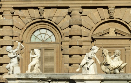detail with playing cherubs  of the Fountain of Artichoke ( italian :Fontana del Carciofo)  , Boboli Gardens, Pitti Palace, Florence , Italy Stock Photo