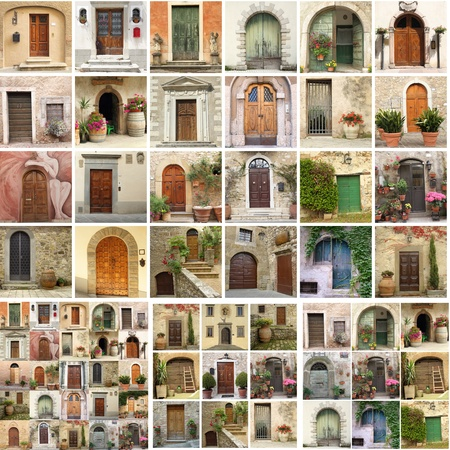 house series: collage with doors from Italy