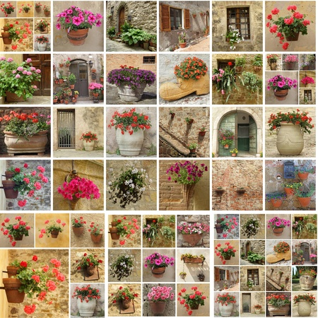 collage with flowerpots, Italy photo