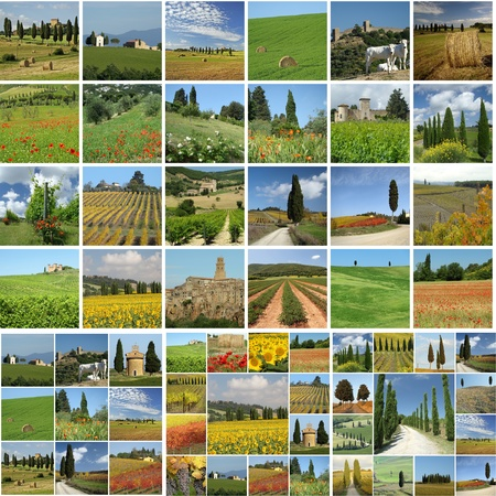 collage with tuscan countryside, Italy photo