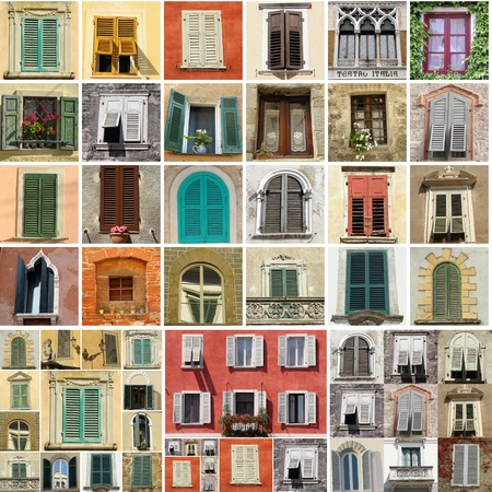 collage travel: colorful collage made of antique windows in Italy Stock Photo
