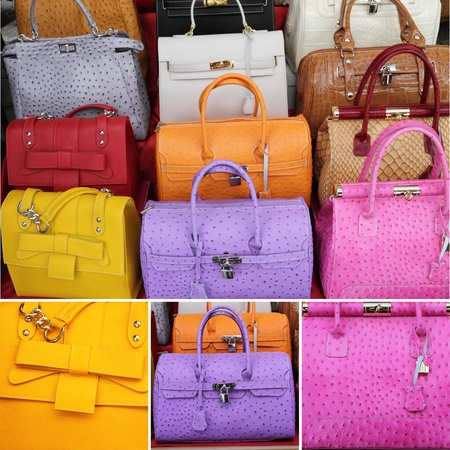 article of clothing: collage with colorful leather handbags collection Stock Photo