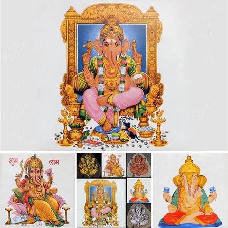 collage with hindu god ganesha photo