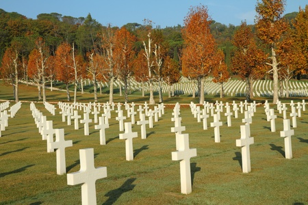 military cemetery: Florence American Cemetery in Tuscany, Italy, Europe Stock Photo