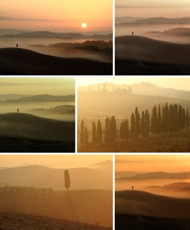 collage with scenic tuscan landscape at sunrise and sunset, Toscana, Italy, Europe photo