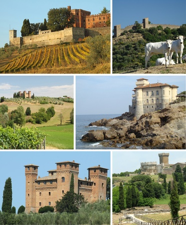 collage with tuscan castles in scenic landscape, Italy, Europe photo