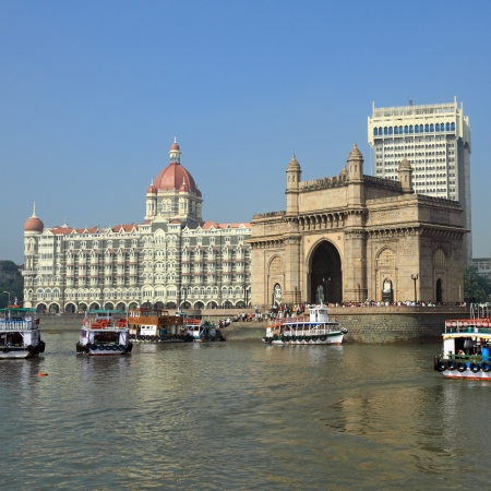 Gate of India and hotel Taj Mahal Palace  in Mumbai ( formerly Bombay), India, Asia Stock Photo