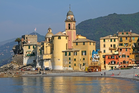 picturesque seaside village Camogli in Liguria, Italy, Europe photo