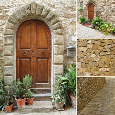 collage with tuscan door, Italy photo