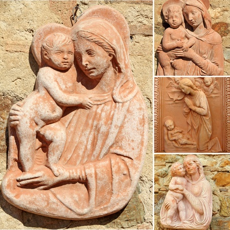 collage with Madonna and child ( detail from  Impruneta in Tuscany, Italy, Europe ) photo