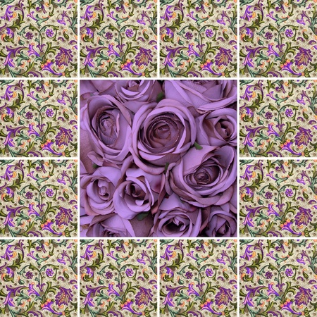 collage card with violet roses and floral pattern, photo