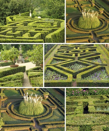 hedges: collage with geometric italian gardens, Tuscany, Europe