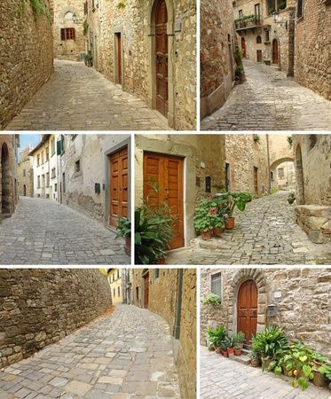 narrow: collage with picturesque paved narrow streets and houses, Montefioralle, Tuscany, Italy, Europe