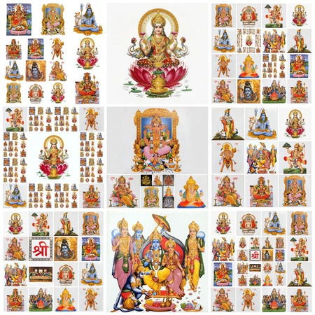 collage with hindu gods as: Lakshmi, Ganesha, Hanuman, Vishnu, Shiva, Parvati, Durga, Buddha, Rama, Krishna photo