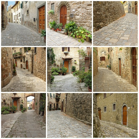 collage with picturesque nooks of italian village , Montefioralle, Tuscany, Italy, Europe