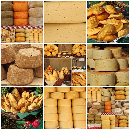 fairs: collage with regional italian, french and polish cheese on food fairs in Italy, Poland and France