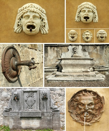 antique details of fountains collage, Italy Europe photo