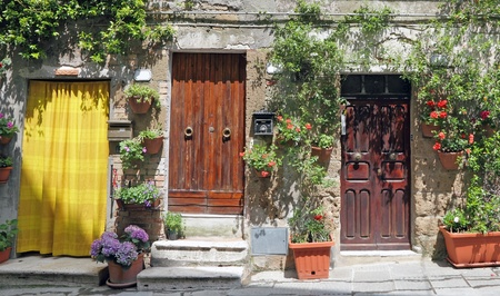 entrances to the house in Pitigliano, Tuscany, Italy, Europe photo