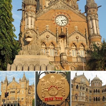 terminus: collage made of Chhatrapati Shivaji Terminus images, Mumbai ( Bombay) India, Asia