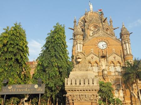 terminus: De Chhatrapati Shivaji Terminus, antigua Estaci�n Victoria, la UNESCO Patrimonio de la Humanidad, Bombay, Maharashtra, India