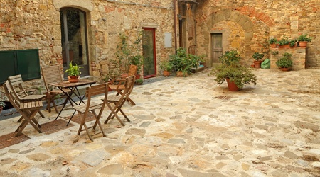 paved rustic terrace in Tuscany, Italy, Europe photo