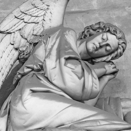 mourn: antique angelic headstone, monumental cemetery Staglieno, Genoa, Italy, Europe