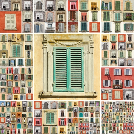 collage with images of retro windows with shutters in Italy photo