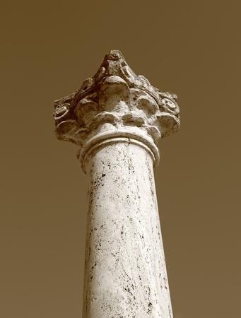 patrimony: vintage photo in sepia of ancient column