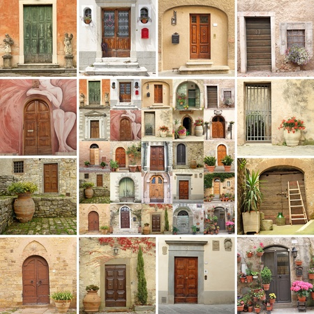 collage with vintage doors in Italy photo