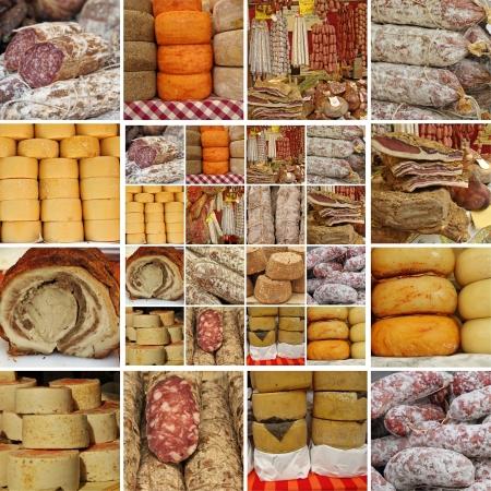 charcutería: en el mercado italiano, Toscana, Italia, Europa