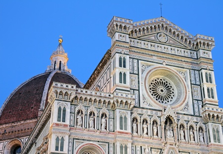 patrimony: facade of the Basilica of Saint Mary of the Flower in Florence at sunset time light, UNESCO World Heritage Site, Italy, Europe