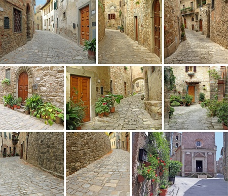 collage with narrow stony streets of italian villages, Tuscany, Italy, Europe