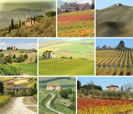 toscana: collage with tuscan houses in scenic landscape