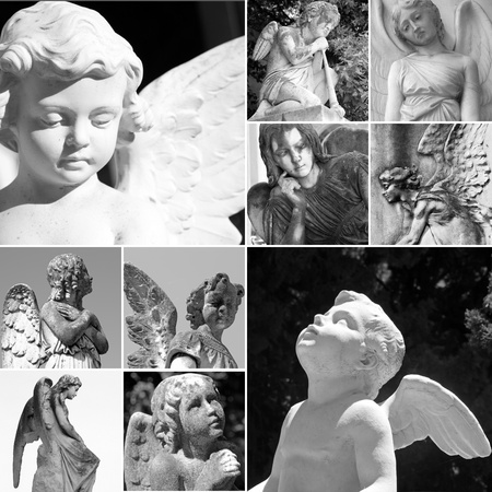cherub: collage with cemetery angels, Italy, Europe