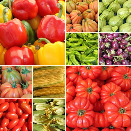 collage with fresh vegetables on farmer market, Italy