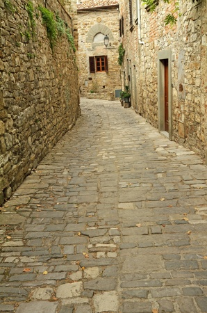cobbled:  in picturesque  borgo Montefioralle, Greve in Chianti,Tuscany, Italy