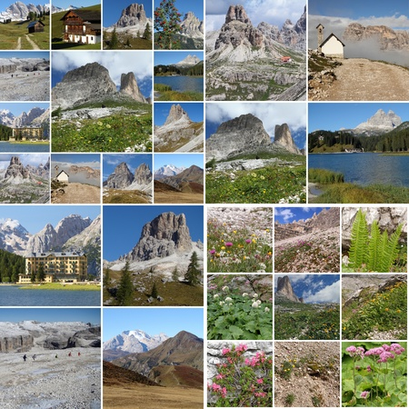 collage with landscape of italian mountains Dolomiti , Italy, Europe
