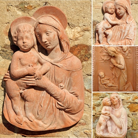 antique jesus: collage with Madonna and child  -  tuscan craft from  Impruneta , Tuscany, Italy, Europe Editorial