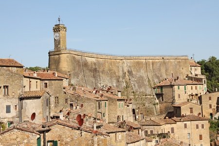 Leopoldino Rock -  fortification and Clock tower in tuscan village Sorano, Italy, Europe