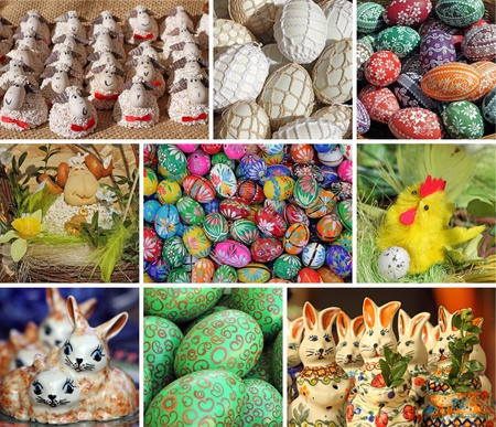 collage with easter compositions, Poland Stock Photo - 12532198