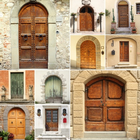 collection of vintage doors from different regions of Italy photo