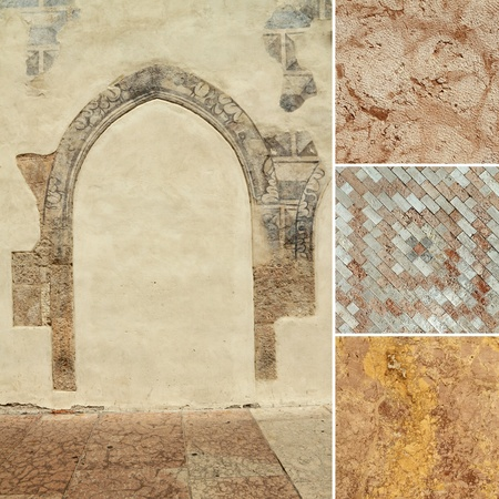 italian fresco: composition with antique stone textures, images from Italy Stock Photo