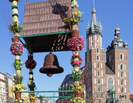 traditional easter decorations on Main Square, Cracow, Malopolska, Poland, Europe