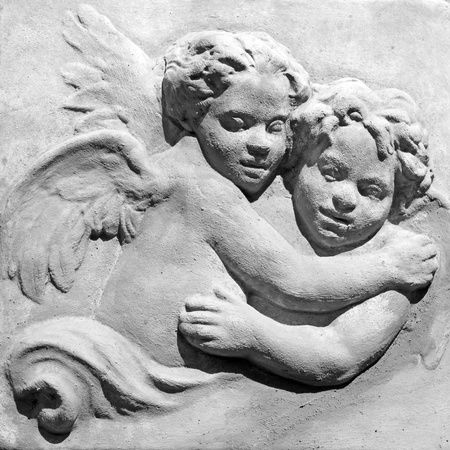 innocent pair of angels in black and white  photo