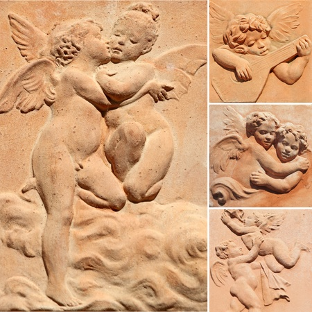 collection of decorative reliefs with angelic images   in tuscan terracotta, Italy photo