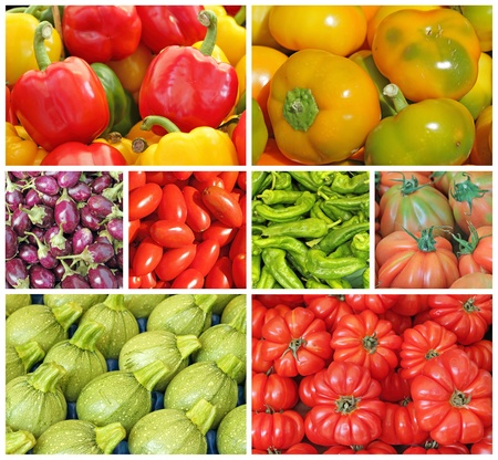 collage with various fresh vegetables on italian market, Italy, Europe photo